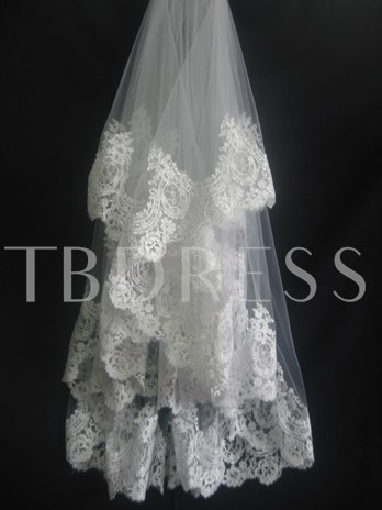 1-Layer Fingertip Wedding Bridal Veils with Lace Applique Edge