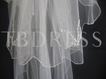 3-Layer Fingertip Wedding Veils With Pearl Trim Edge