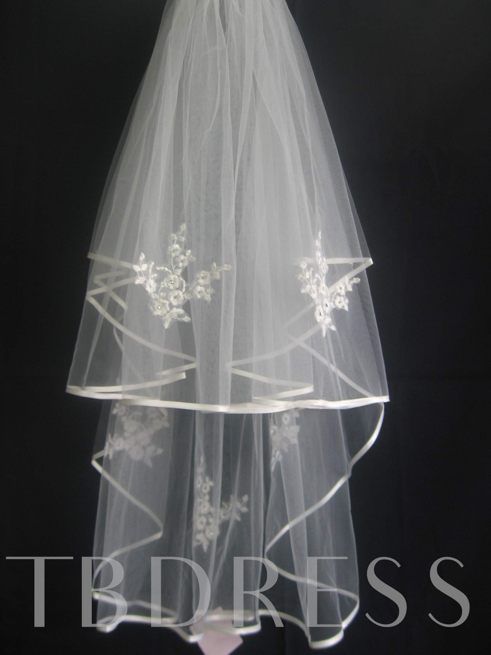 Marvelous 2-Layer Elbow Wedding Bridal Veils with Ribbon Edge