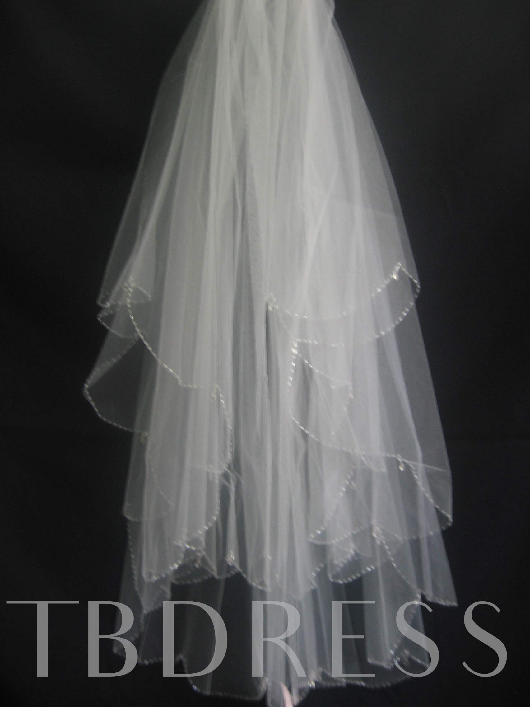 Elbow Wedding Bridal Veil with Beaded Edge