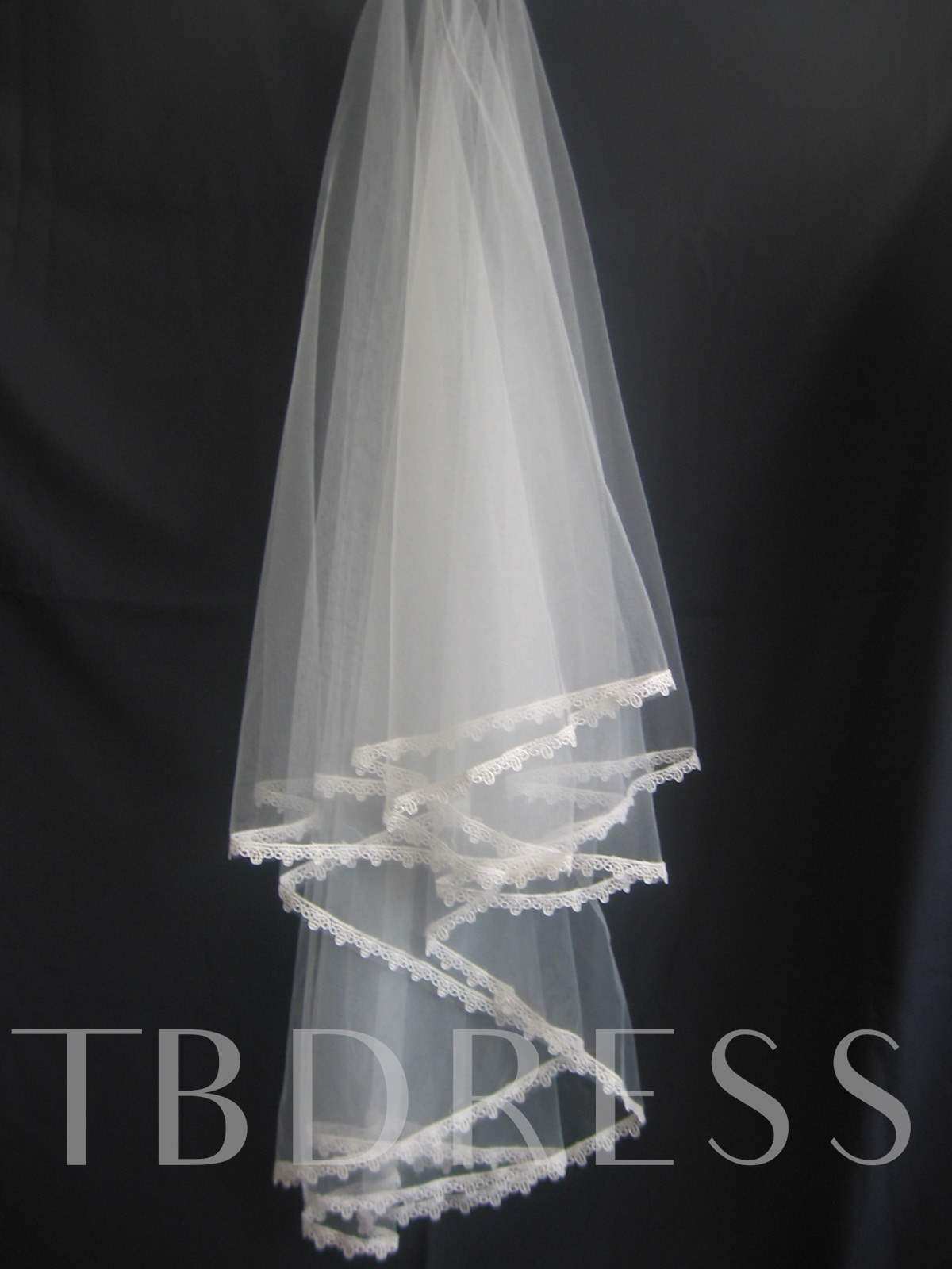 1-Layer Fingertip Elbow Veils with Lace Applique Edge