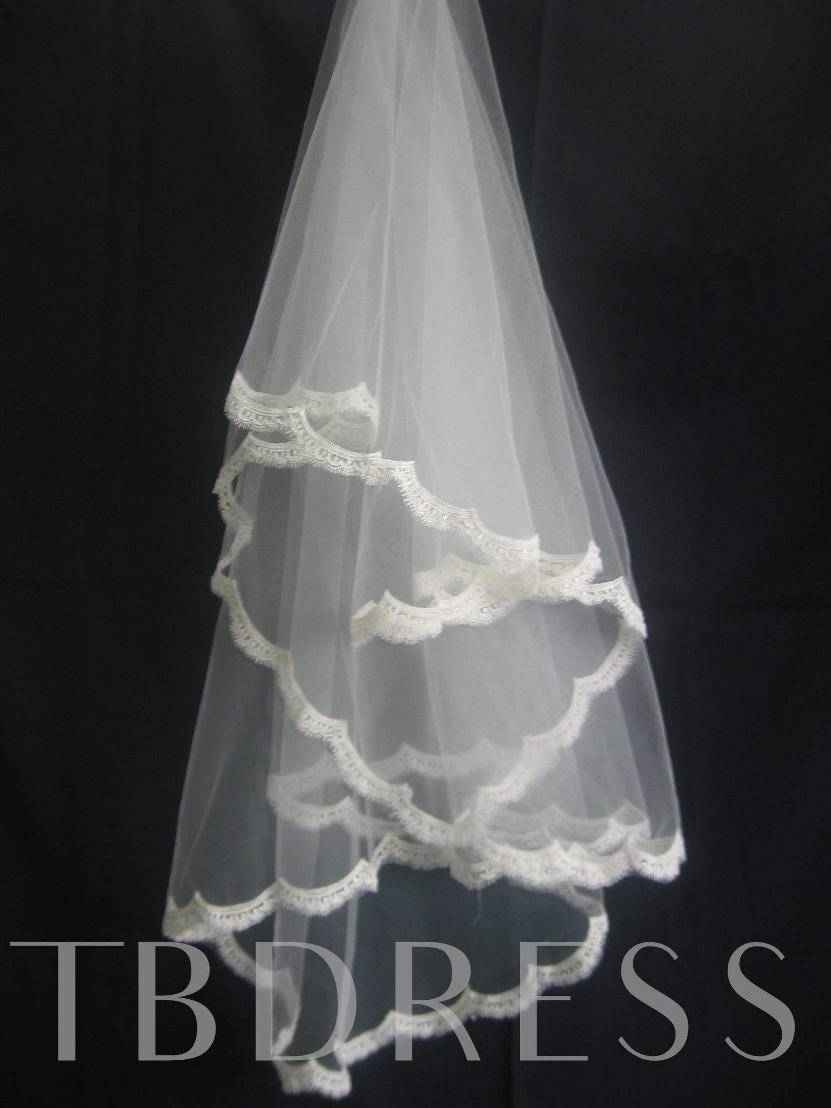 1-Layer Elbow Wedding Bridal Veil Lace Applique Edge