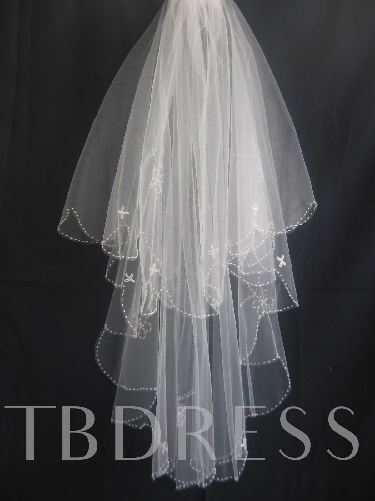 2-Layer Elbow Wedding Veils With Applique Edge