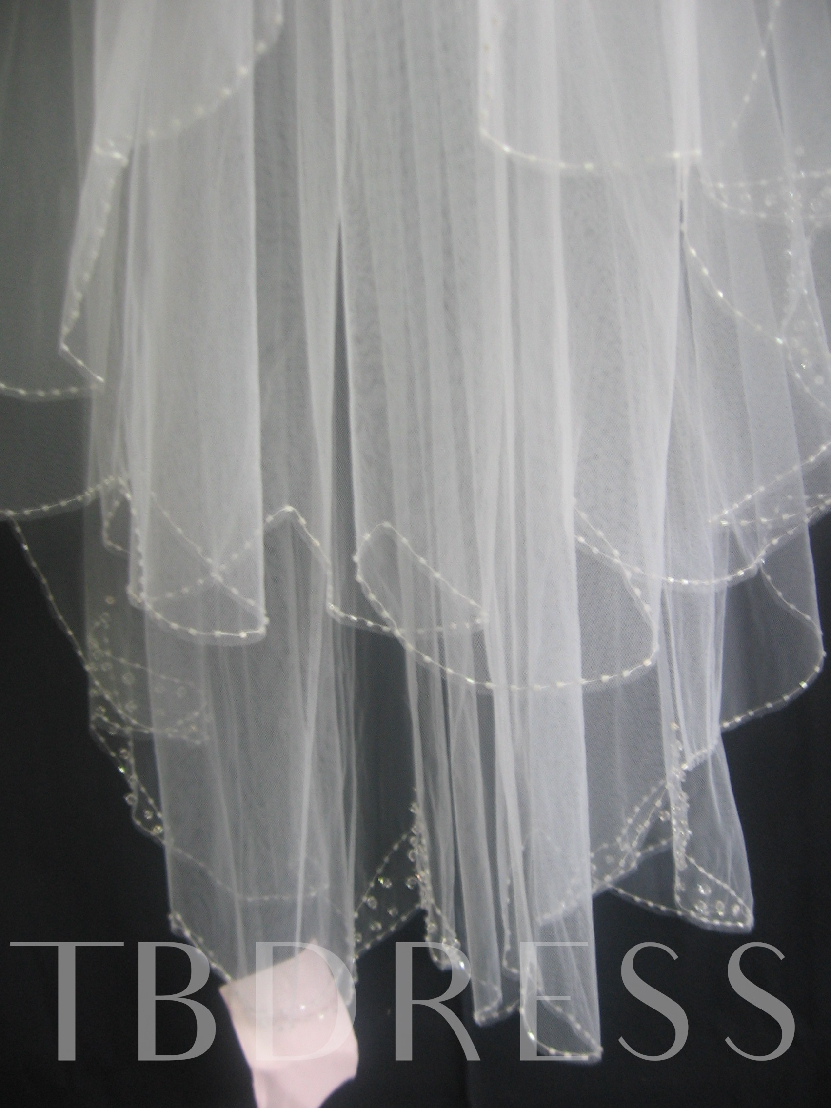 2-Layer Elbow Wedding Bridal Veil with Pearl Trim Edge