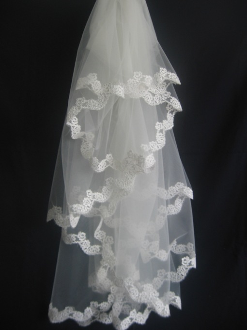 1-Layer Elbow Wedding Veil With Lace Applique Edge