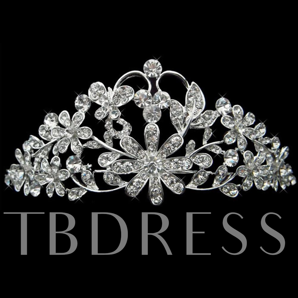 al Alloy with Rhinestone Wedding Bridal Tiara