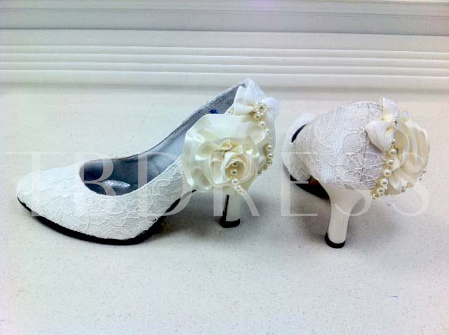 Pumps with White Pearls Wedding Party Shoes