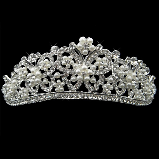 Alloy with Rhinestone and Pearl Wedding Bridal Tiara