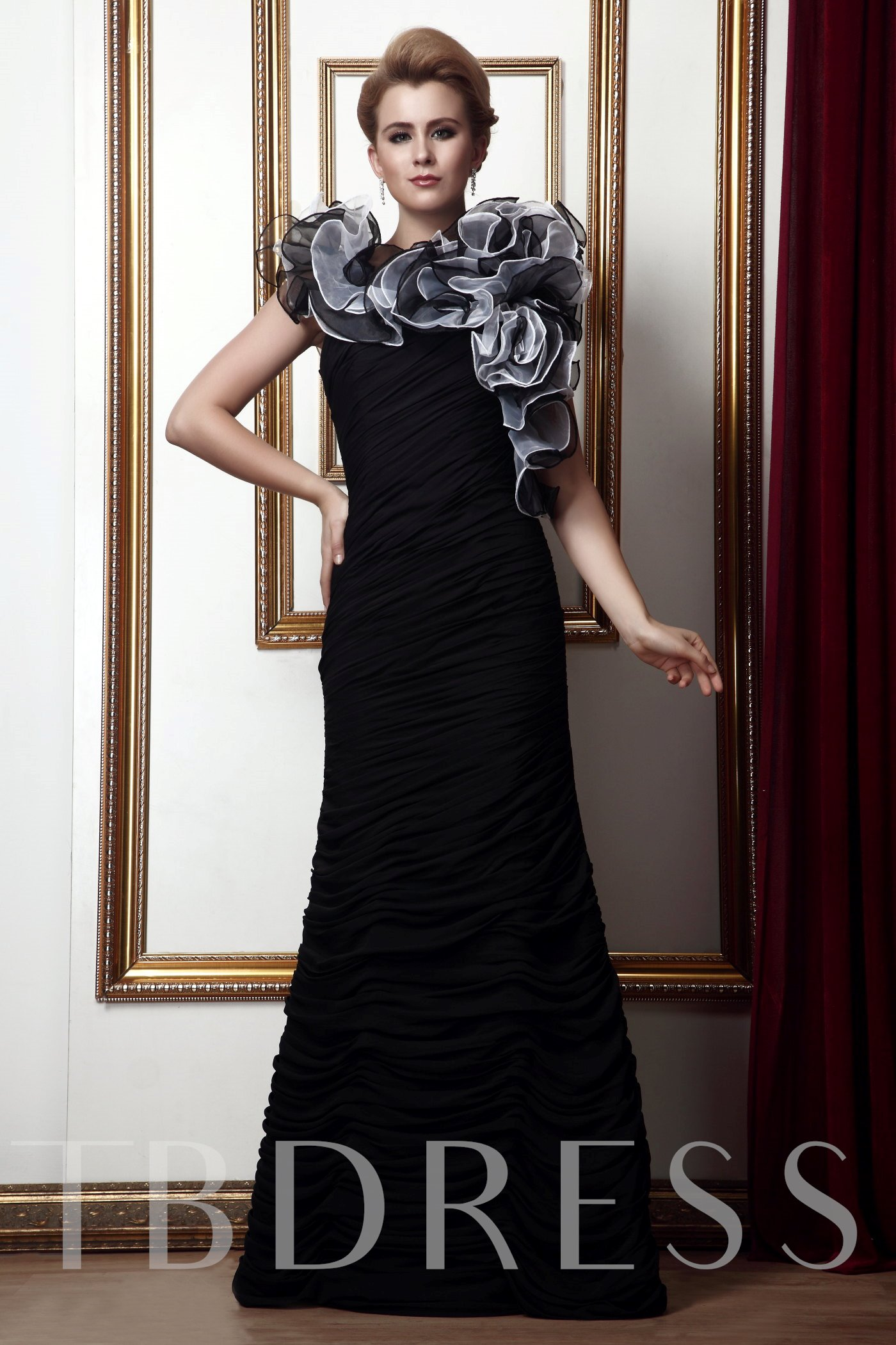 Image of Cascading Ruffles Mermaid Mother of the Bride Dress