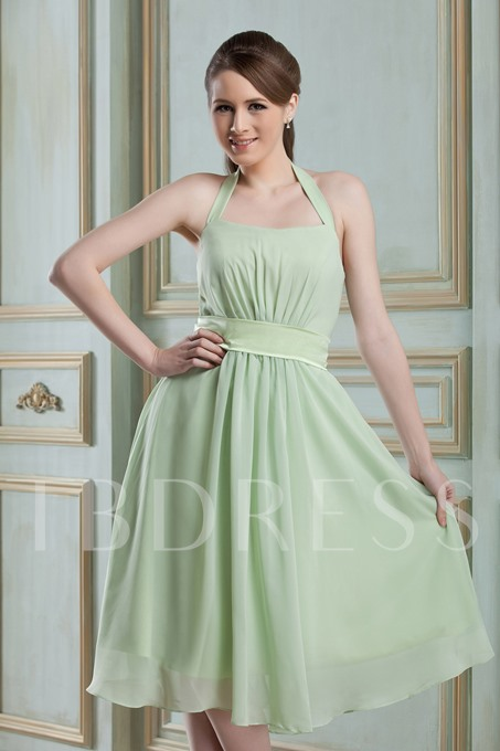 Halter Ruched A-Line Knee-Length Bridesmaid Dress
