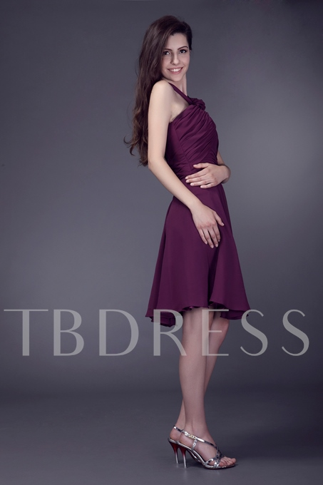 Ruched Flower A-Line Straps Knee-Length Sale Anderai's Bridesmaid Dress