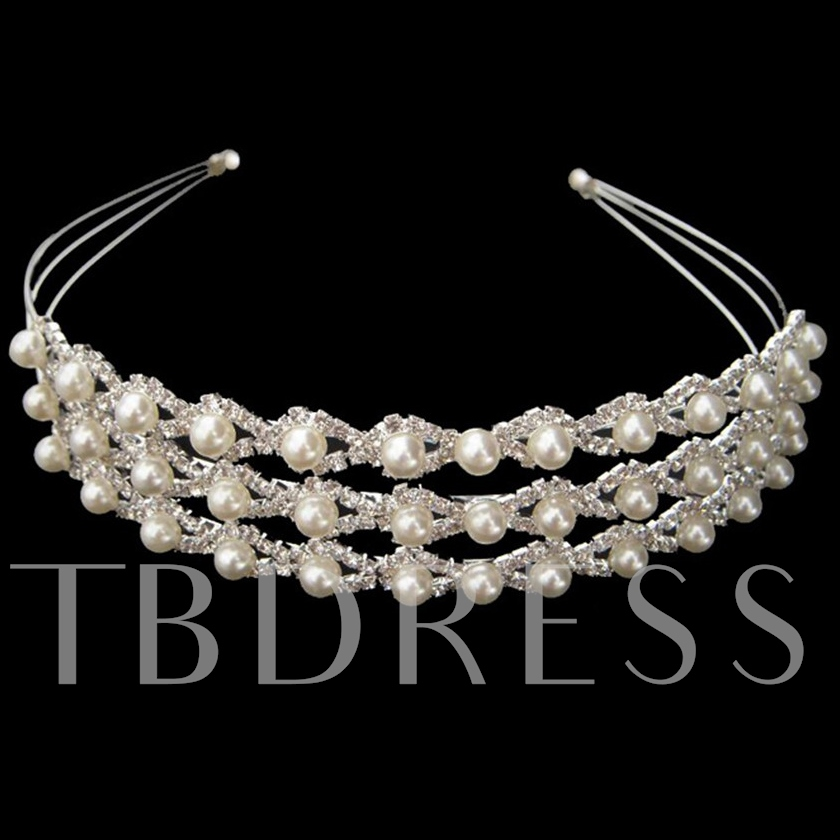 Three Layers Alloy with Rhinestone and Pearl Wedding Bridal Tiara