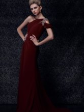 One-Shoulder Sweep Train Evening Dress