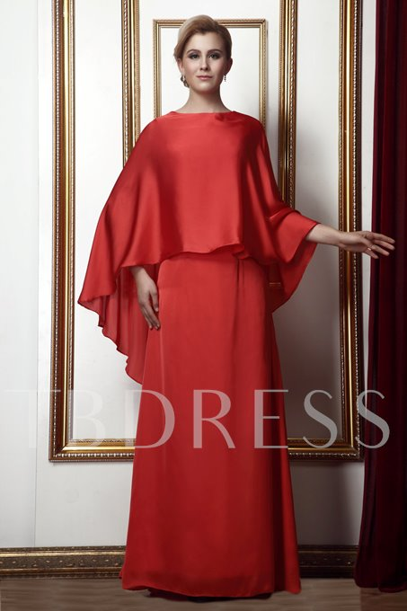 Bateau A-line Floor-length Mother of the Bride Dress