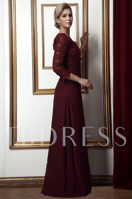 3/4-Length Sleeve Appliques Mother of the Bride Dress