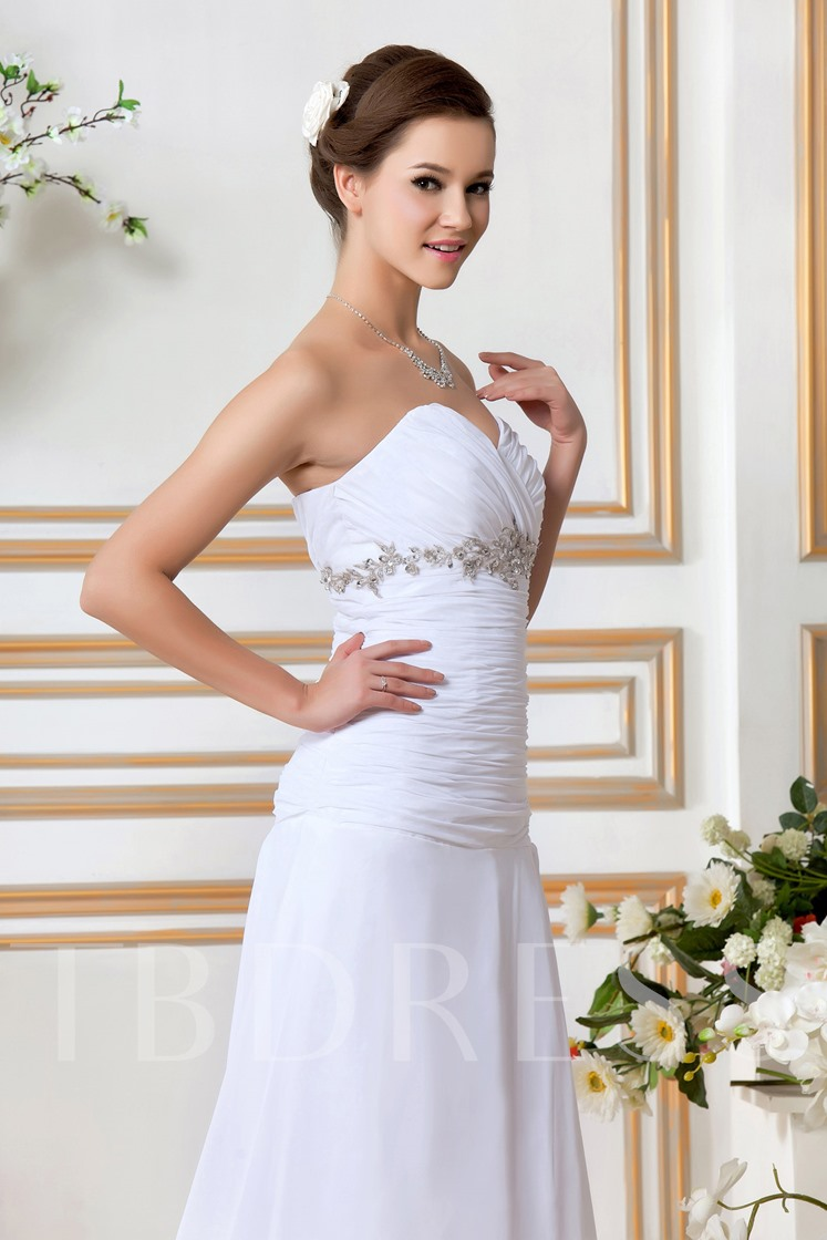 A Line Sweetheart Ruched Appliques Wedding Dress
