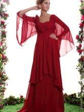 Flowers Tiered Mother of the Bride Dress with Sleeve
