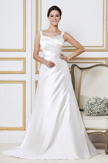 A-Line Straps Sleeveless Chapel Sandra's Wedding Dress