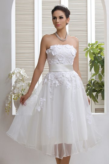 Strapless A-line Appliques Beach Wedding Dress