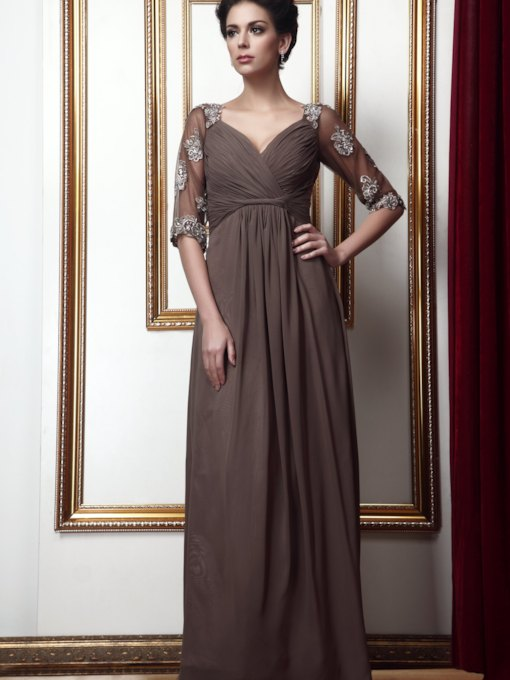 Empire V-Neck Floor-Length Ruffles Mother of the Bride Dress