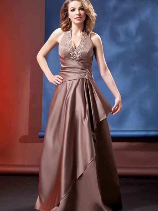 Appliques Beading Halter Satin Bridesmaid Dress