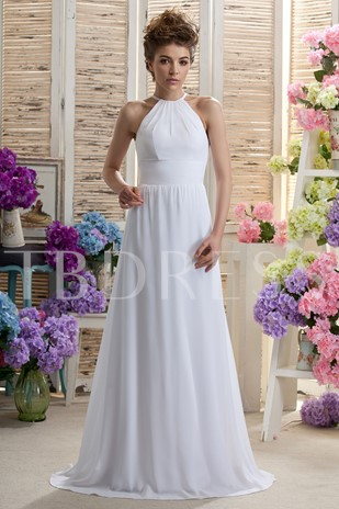 A-line Halter Floor-Length Daria's Bridesmaid/Prom Dress