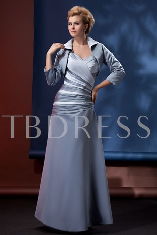 Beaded Pleats Mother of the Bride Dress With Jacket