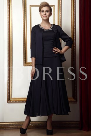 Beaded Tea-Length Mother of the Bride Dress With Jacket