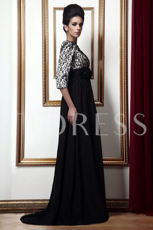 Empire Waist Lace Mother of the Bride Dress