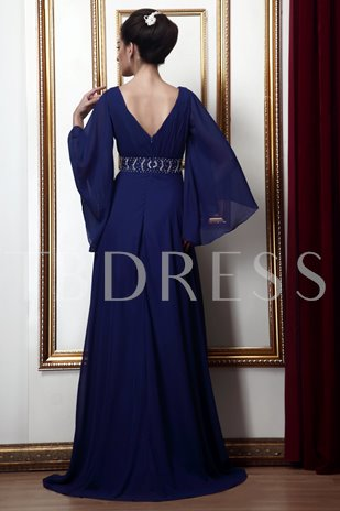 A-line V-Neck Zipper-Up Mother of the Bride Dress