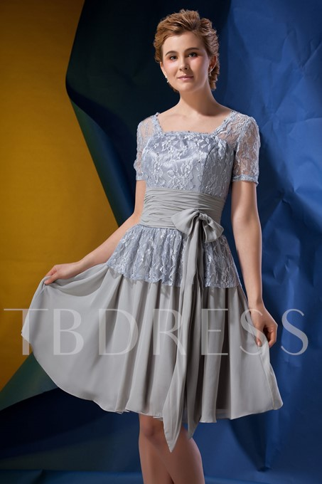 Lace Short Sleeve Knee-length Mother of the Bride Dress
