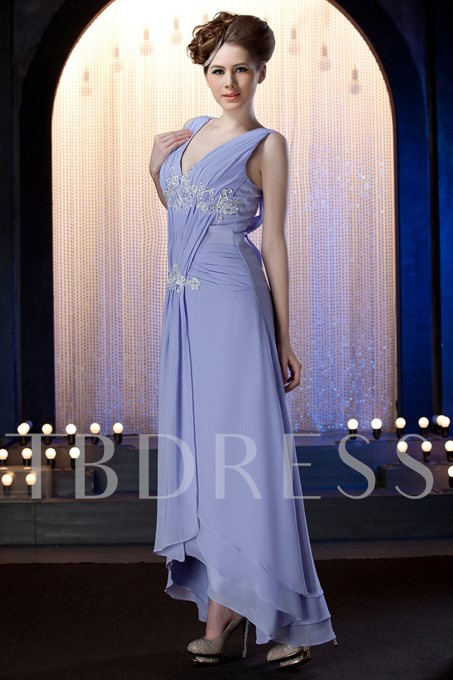 Appliques High Low Mother of the Bride Dress With Shawl