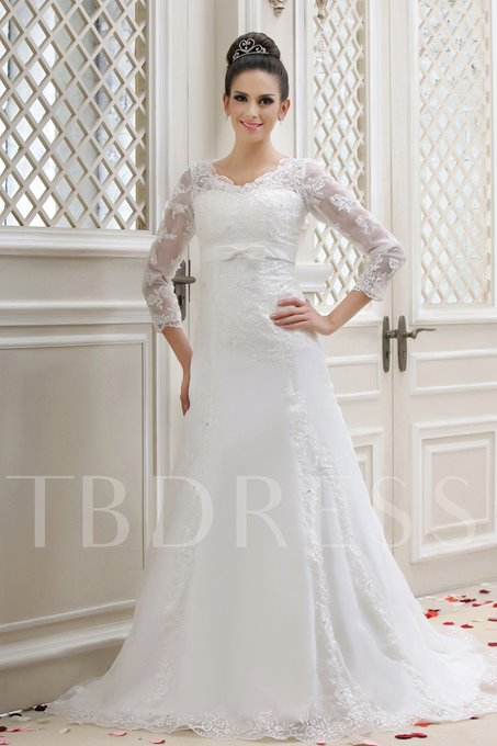 A-Line V-Neck Lace Long-Sleeves Taline's Wedding Dress