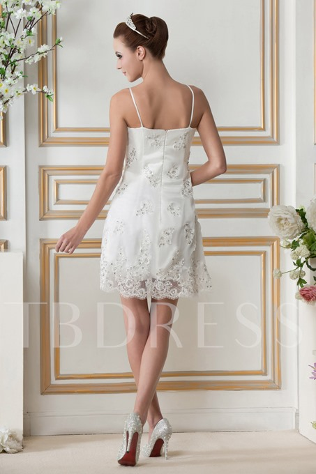 Spaghetti Straps A line Mini Skirt Beach Gerogia's Wedding Gown WH-0046