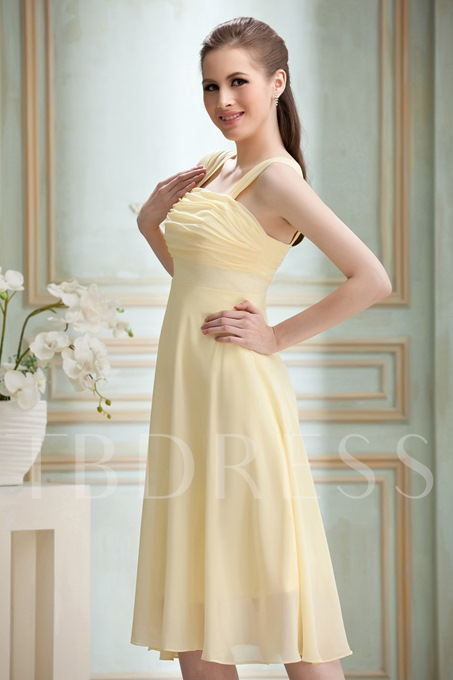 Ruched A-Line Knee-length Bridesmaid Dress