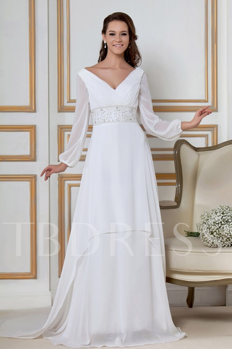 Empire Long Sleeves Chapel Train Sandra's Wedding Dress