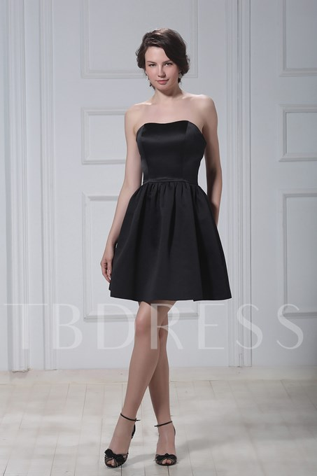 A-Line Short/Mini-Length Luba's Strapless Bridesmaids Dress