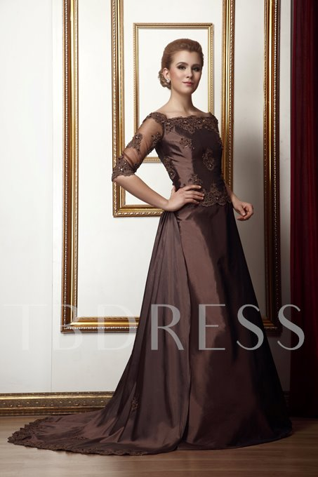 Half Sleeve Sequins Appliques Mother of the Bride Dress