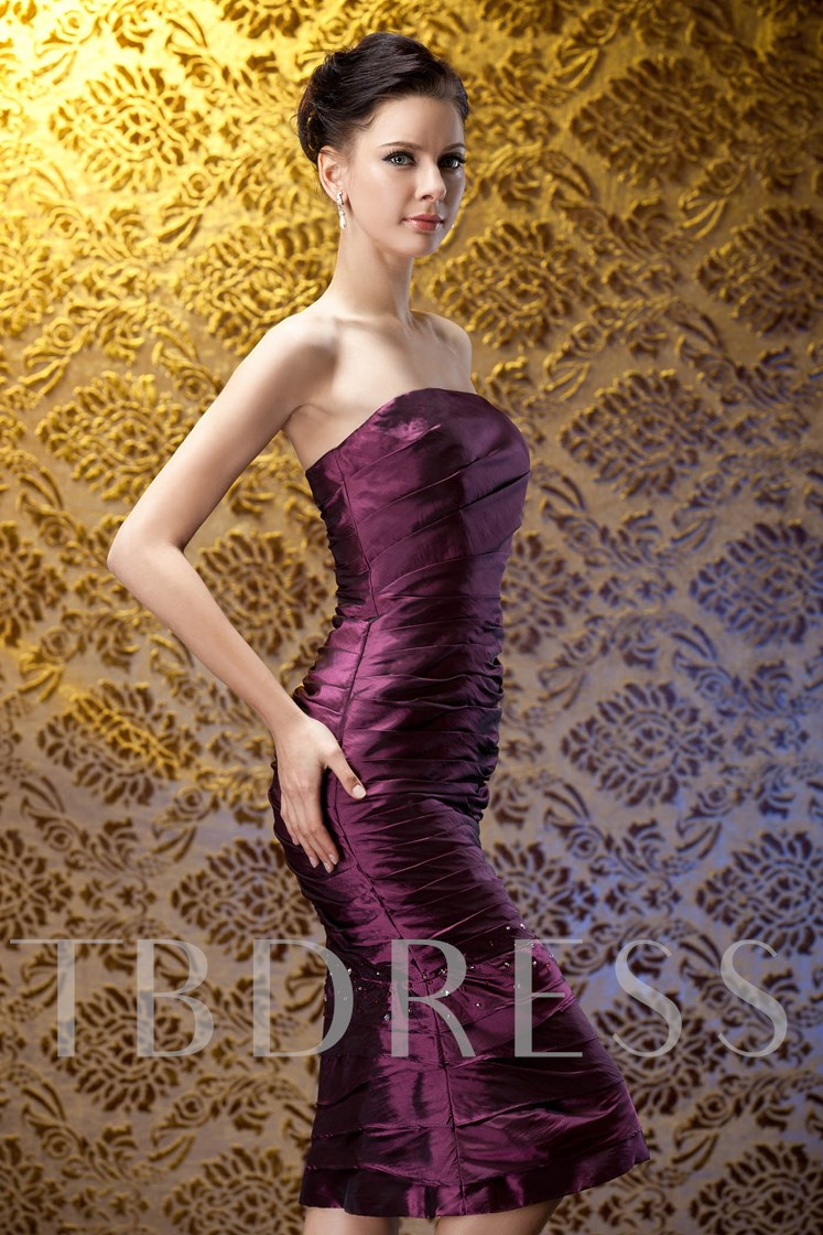 Tiered Column Strapless Tea-length Mermaid Mother of the Bride Dress