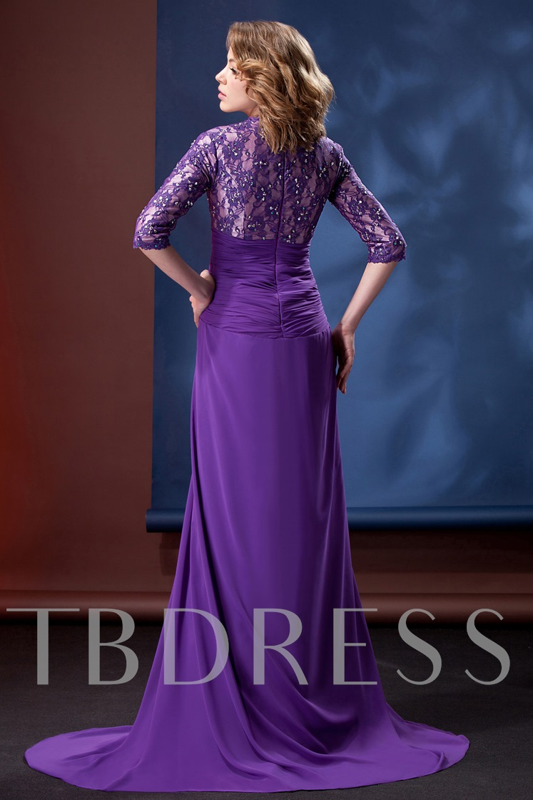 Lace 3/4-Sleeves Split-Front Mother of the Bride Dress