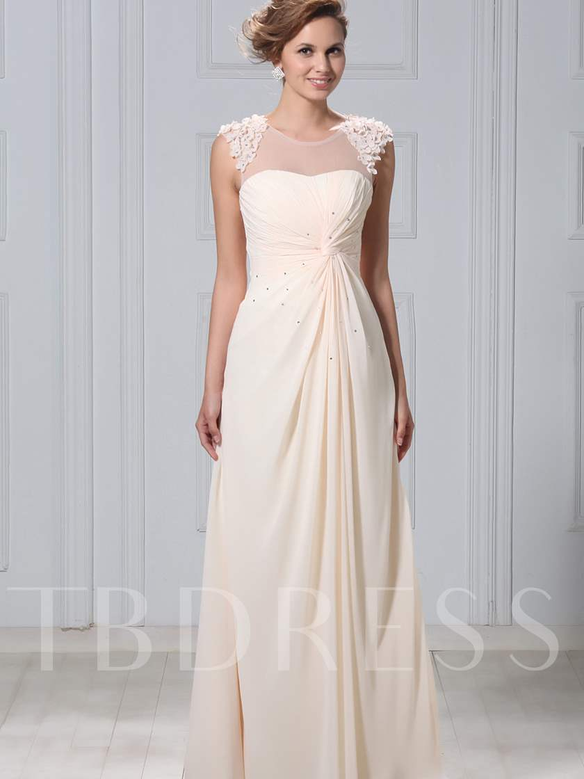 Round Neck Beading Appliques Mother of the Bride Dress