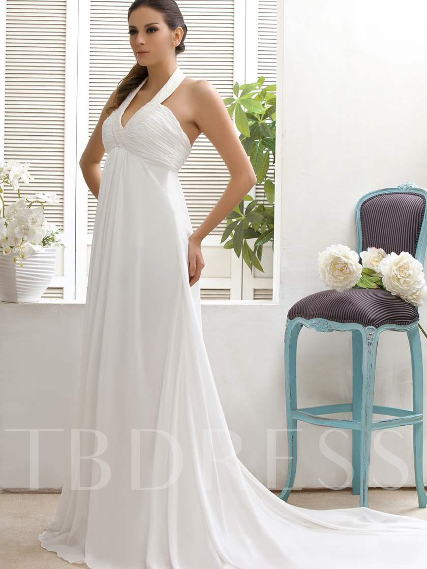 Empire Waist Beading Beach Wedding Dress