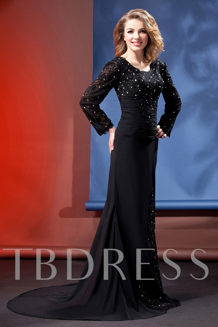 Trumpet Long-Sleeves Floor-Length Daria's Mother of the Bride Dress