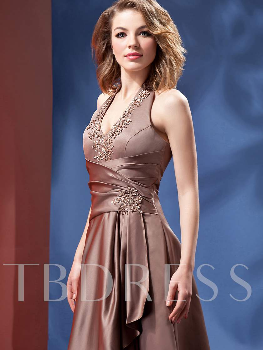 Appliques Beading Halter Bridesmaid Dress