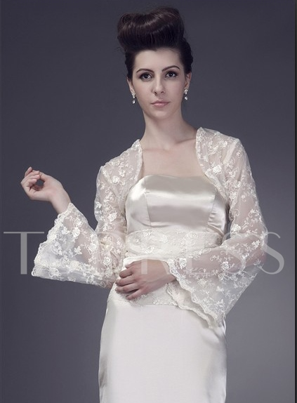 Long Sleeve Ivory Lace Wedding Bolero/Jacket