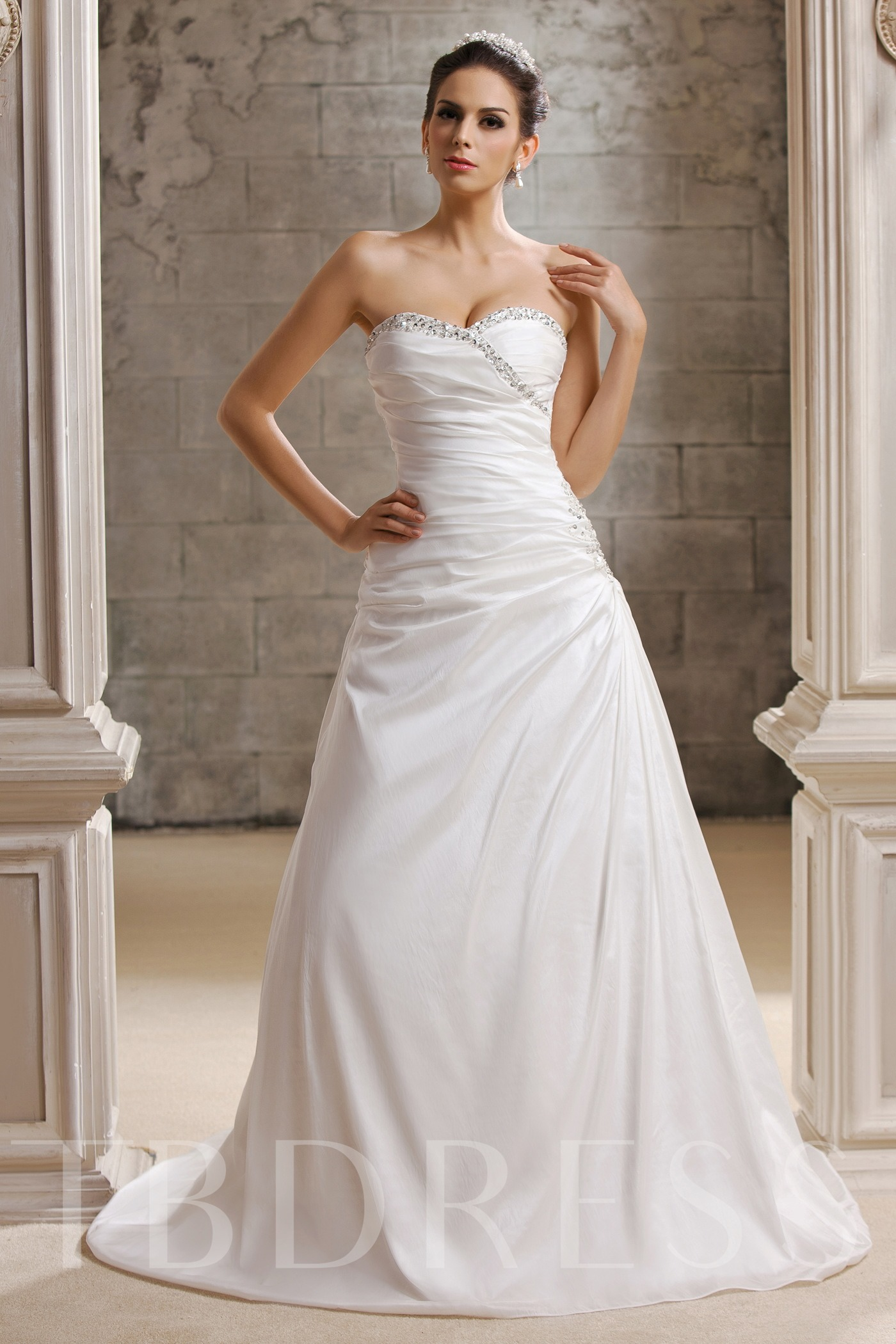 Image of A-Line Sequined Strapless Wedding Dress
