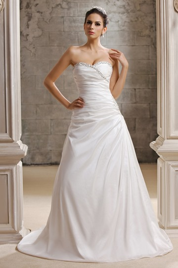 A-Line Sequined Strapless Wedding Dress