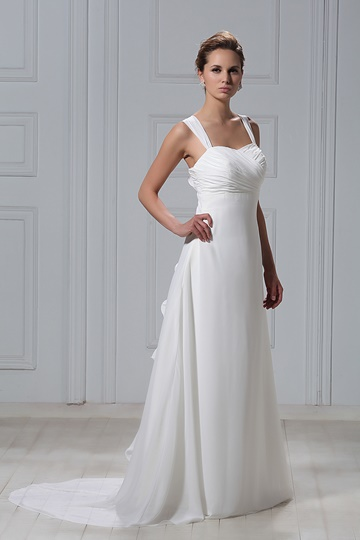Sheath/Column Straps Court Train Flowers Empire Wedding Dress