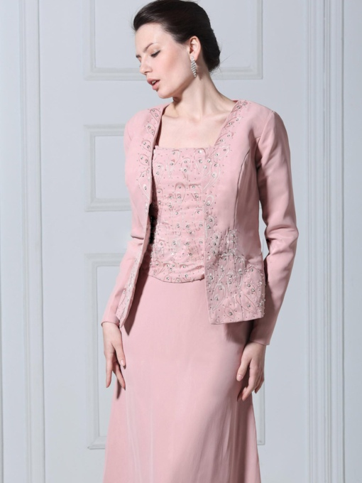 Long Sleeve Pink Flower Patterns Wedding Jacket