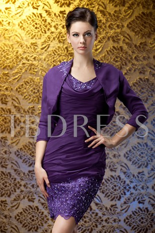 Sheath Appliques Sheath Mother of the Bride Dress With Jacket